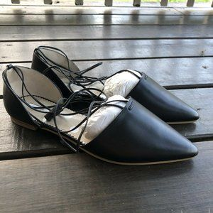 Boden Florence Ankle-tie Black Pointed Toe Flats